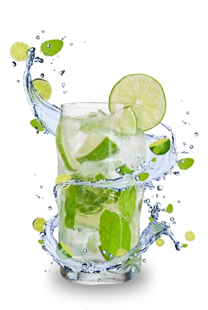lime: Fresh mojito drink with splash spiral around glass. Isolated on white background