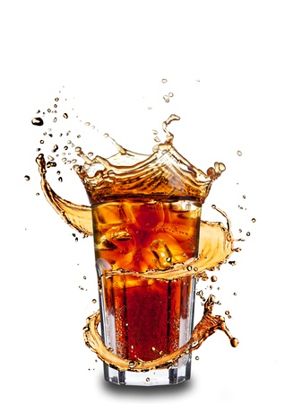 cola: Ice cola drink with splash, isolated on white background Stock Photo