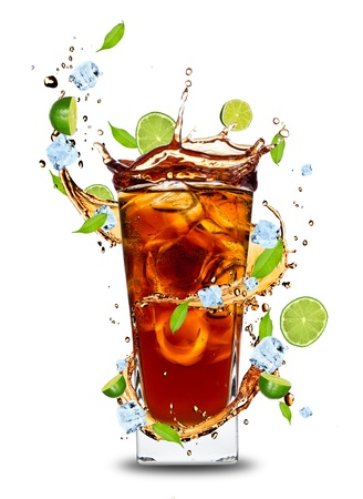 coctail: Fresh cola drink with limes. Isolated on white background