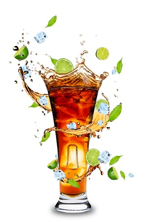 Twister: Fresh cola drink with limes. Isolated on white background