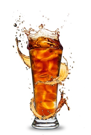Ice cola drink with splash, isolated on white background photo
