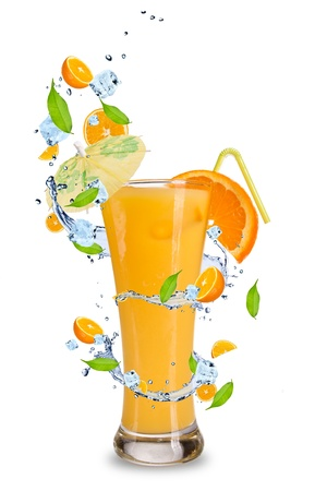 Fresh orange cocktail with splash around, isoalated on white background photo