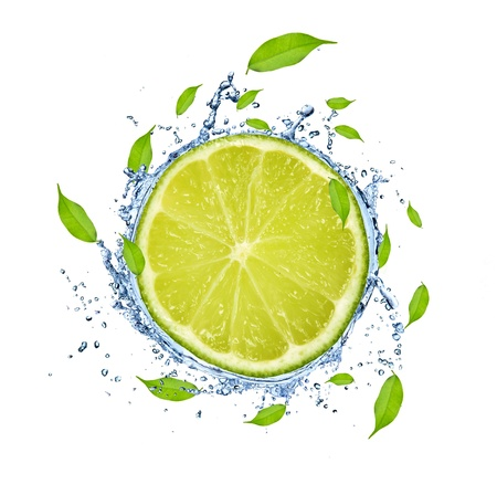Slice of lime in water splash, isolated on white background photo