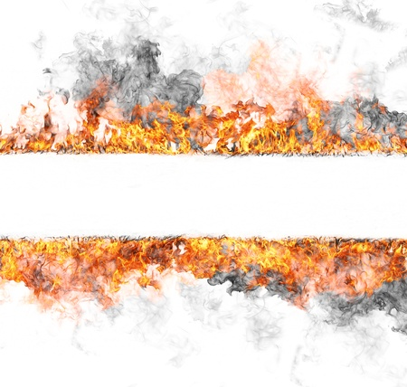 hell fire: Fire stripe, isolated on white background Stock Photo