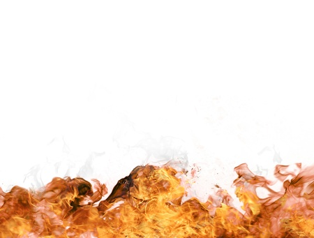 Fire flames on white background photo