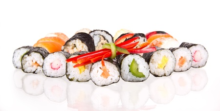 roll bar: Sushi pieces, isolated on white background Stock Photo