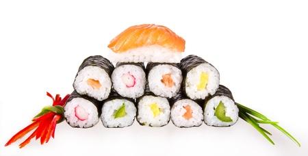Sushi pieces, isolated on white background photo