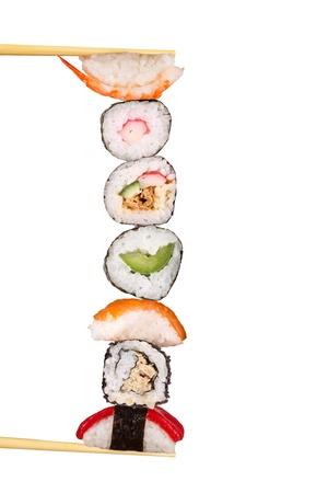japanese meal: Maxi sushi, isolated on white background  Stock Photo