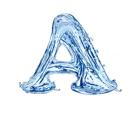 Water letter, isolated on white background photo