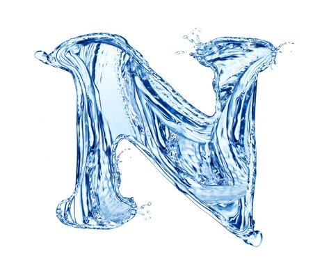 Water letter symbol, isolated on white background Stock Photo - 13706411