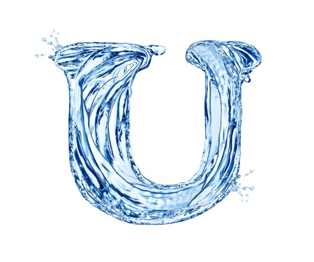 Water letter symbol, isolated on white background photo