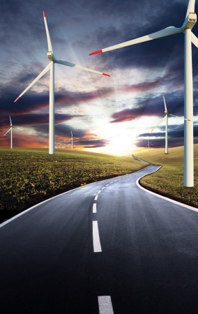 Road with windmills photo