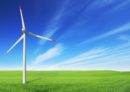 Windmill on field photo