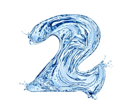 numero: Water number made of splashes, isolated on white background