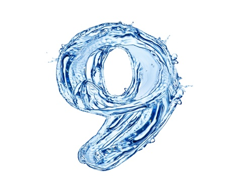 Water number made of splashes, isolated on white background Stock Photo - 13706397