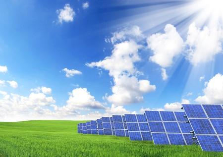 nonpolluting: Solar panels Stock Photo