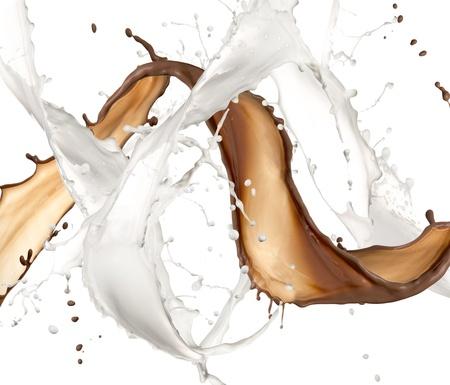 chocolate milk: Milk and chocolate splash, isolated on white background