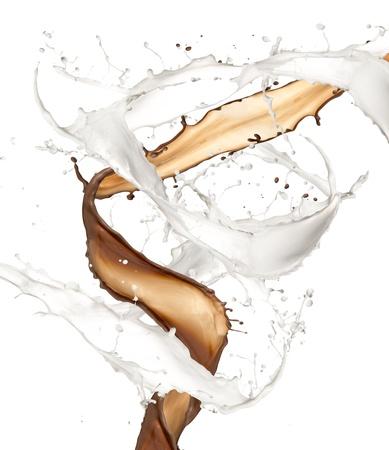 chocolate with milk: Milk and chocolate splash, isolated on white background