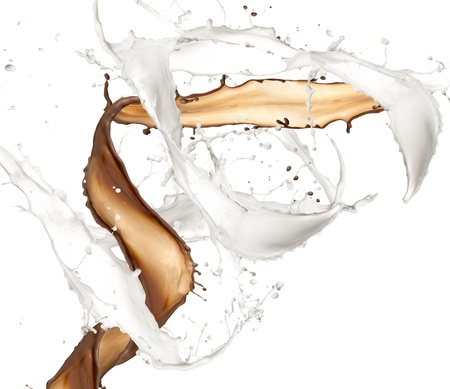 Milk and chocolate splash, isolated on white background photo