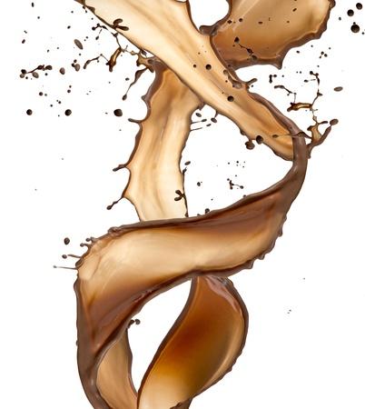 milk chocolate: Chocolate splash, isolated on white background Stock Photo
