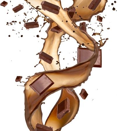chocolate caliente: Las barras de chocolate de bienvenida, aisladas sobre fondo blanco