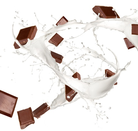 Chocolate bars in milk splash, isolated on white background photo