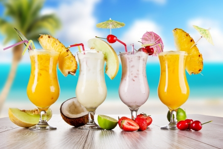 Pina colada drinks with blur beach on background Stock Photo - 13934917