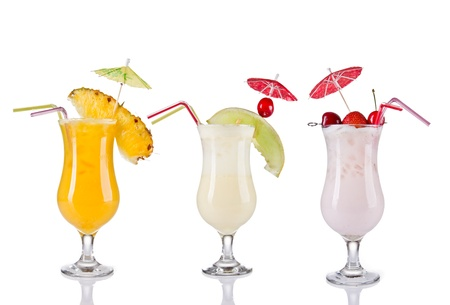 toothpick: Collection of cocktail drinks, isolated on white background Stock Photo