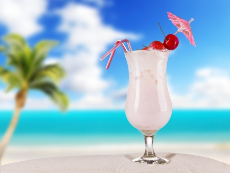 Cocktail drink on beach photo