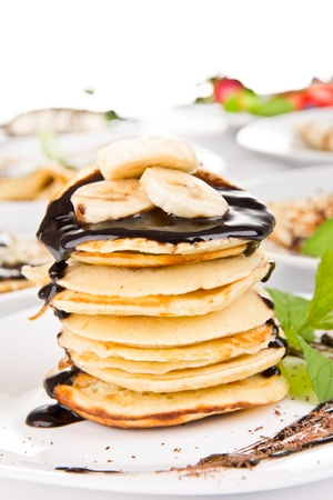 homemade style: Sweet pancakes with molten chocolate Stock Photo