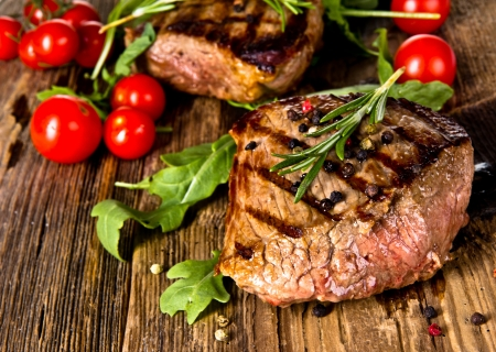 medium close up: Grilled Steaks Stock Photo