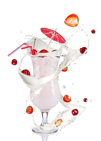 Milky cocktail, isolated on white background photo