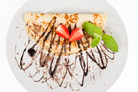 crepe: Sweet pancake with chocolate, top view Stock Photo