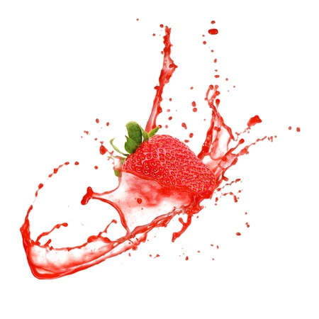 liquid summer: Strawberry in splash, isolated on white background Stock Photo
