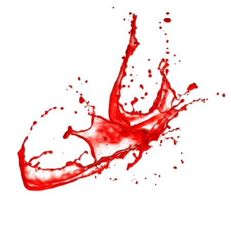 isolated spot: Blood splash, isolated on white background Stock Photo