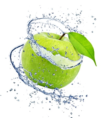 limelight: Green apple with water splash, isolated on white background