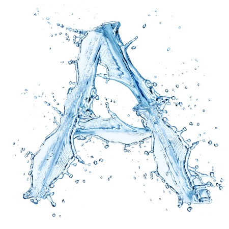 ice water: Water splashes letter