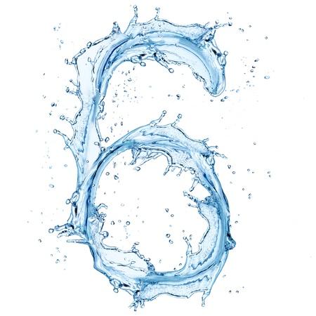 carta de agua liquida: Salpicaduras de agua, n�mero de Foto de archivo