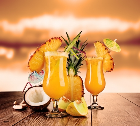 Tropical cocktails in evening sun