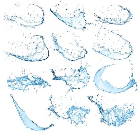 fondo blanco: De agua de alta resoluci�n de salpicaduras colecci�n aisladas sobre fondo blanco Foto de archivo