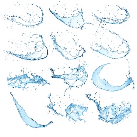 High resolution water splashes collection isolated on white background