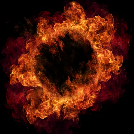 infierno: Anillo de fuego, aisladas sobre fondo negro Foto de archivo