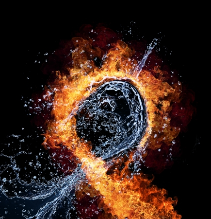 fire symbol: Water and fire connection, representation of elements. Isolated on black background
