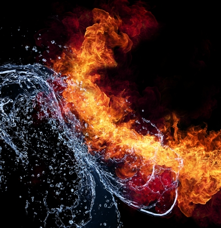 fireballs: Water and fire connection, representation of elements. Isolated on black background
