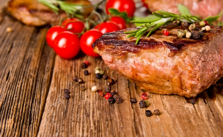 charbroiled: Delicious beef steak  Stock Photo