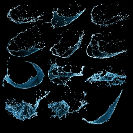 water black: High resolution water splashes collection isolated on black background