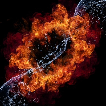Water and fire connection, representation of elements. Isolated on black background Stock Photo - 14390002