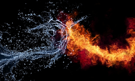 blue flame: Fire and water Stock Photo