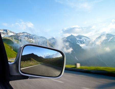 rear view mirror: Car trip