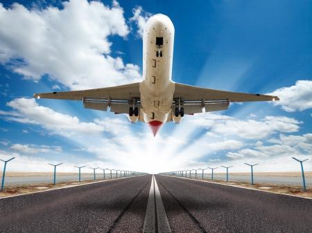 Big jet plane taking off runway  photo